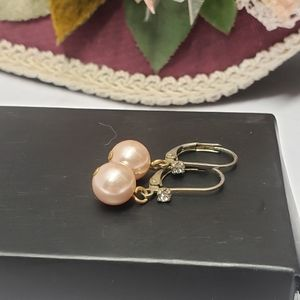 Elegant Vintage Pink Pearl Crystal Earrings
